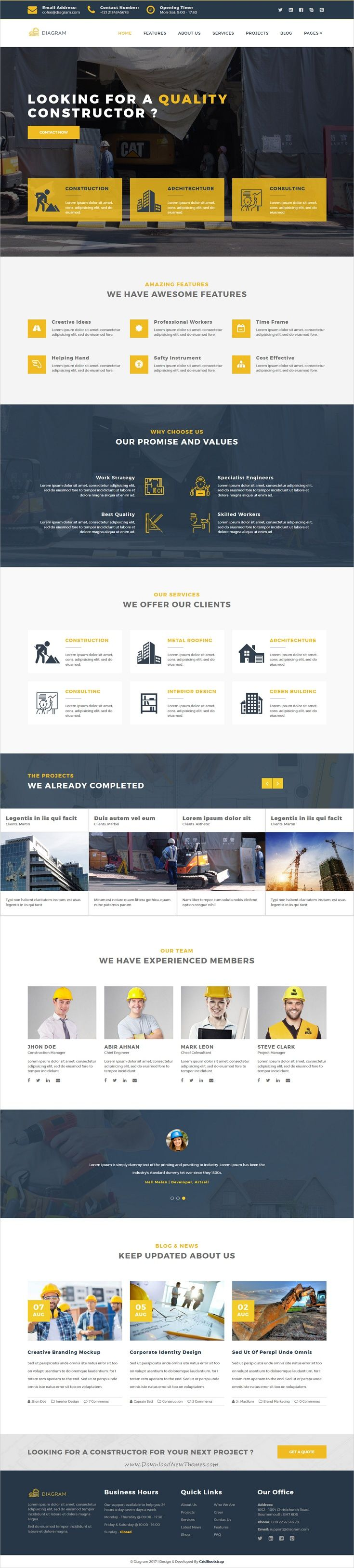 Diagram is a simple and modern design #HTML #bootstrap template for #construction and building companies website download now➩ https://wrapbootstrap.com/theme/diagram-architecture-building-template-WB0N2XL36?ref=datasata