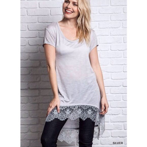 "LOWEST PRICE ""Silver Lining"" Lace Hem Top / Tee High low silver tee with a stunning lace hem. Can be paired with denim or leggings for an effortless comfy chic look. Brand new without tags. True to size. Bare Anthology Tops"