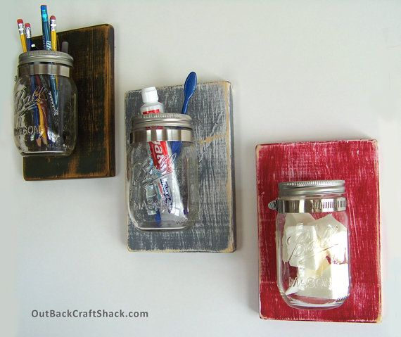 New product sale!  Mason Jar Decor: Planter / Sconce / Toothbrush Holder; Rustic Home Decor; Distressed Wood; Custom colors available!