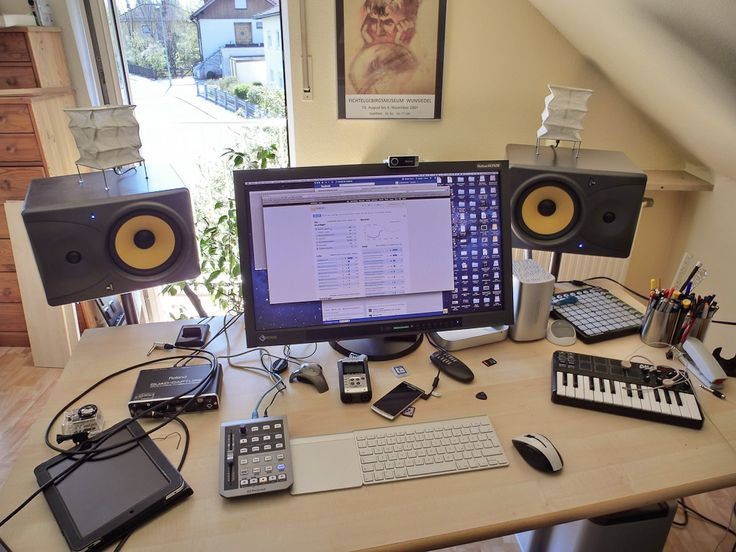 "A look at my desk. A EIZO SX2762W 27"" Display, Mac Mini, Western Digital MyBook RAID, Western Digital My Passport Studio FW HDD, Novation Launchpad, Akai MPK Mini, Roland Quad-Capture UA-55, Presonus Faderport, Behringer Monitor Speakers, Zoom H4n Digitalrecorder, Sony Ericsson Arc S, iPad 1 and a GoPro Cam"