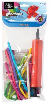 DisfracesMimo, bolsa 8 globos globoflexia 15 cm bombin de colores. Comprar globos baratos. Ideal para decoraciones de festivales en grupos, colegios o cumpleaños.