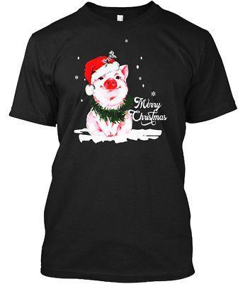 Pig Merry Christmas Funny Farm Hanes Tagless Tee T-Shirt