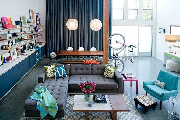 Eclectische woonkamer met unieke details