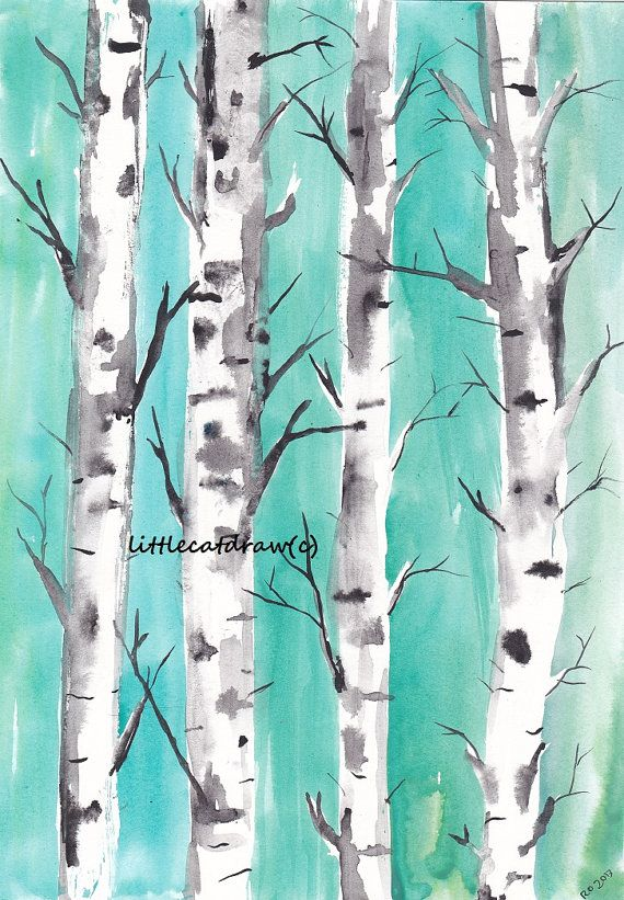 Birch Trees Mint Teal Forest  Watercolor Painting by littlecatdraw, $10.00