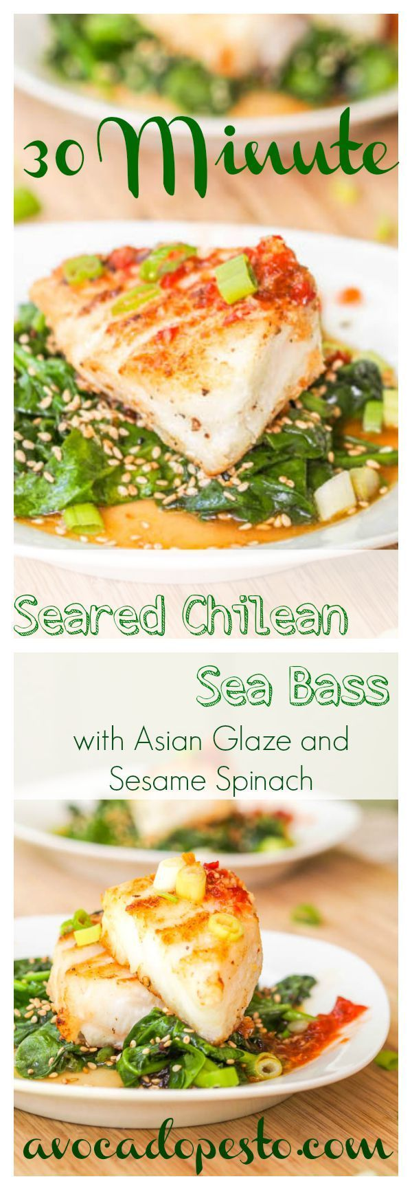 Hands down the most impressive fish recipe I have ever made. 30 minute Seared Chilean sea bass fillets served atop lightly wilted sesame spinach and drizzled with a Vietnamese inspired sweet, sour, spicy, salty glaze. You will be amazed how easy it is to prepare a 5 star meal. Gluten Free and Dairy Free.