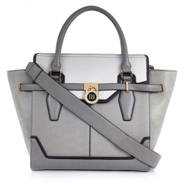 River Island Grey padlock winged tote handbag (£59) ❤ liked on Polyvore featuring bags, handbags, tote bags, gray purse, grey tote, grey tote bag, gray handbags and gray tote bag