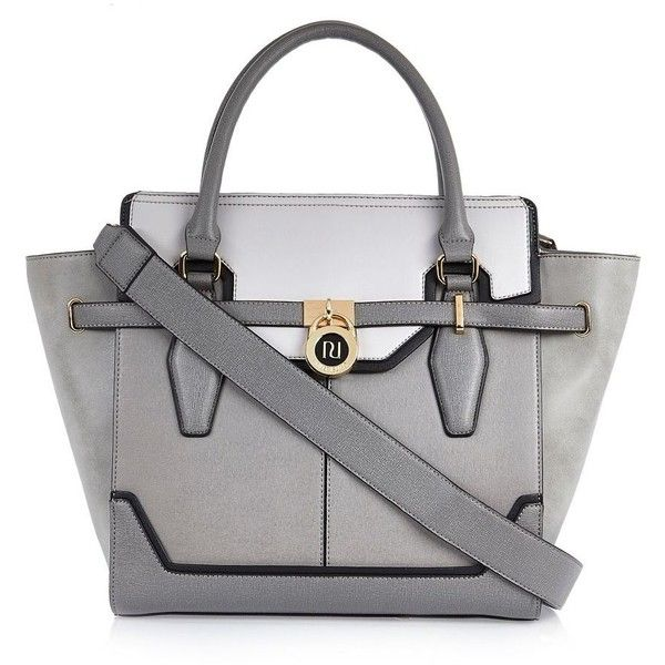 River Island Grey padlock winged tote handbag (£59) ❤ liked on Polyvore featuring bags, handbags, tote bags, gray purse, grey tote, grey tote bag, gray handbags and gray tote bag