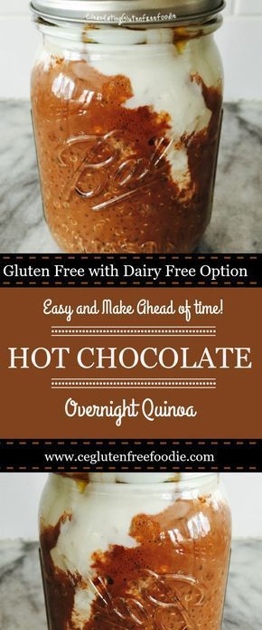 Hot Chocolate Overnight Quinoa a great alternative to your overnight oat mason jar breakfast. This one has the flavors of hot chocolate and is packed with protein. This recipe is gluten free with a dairy option plus 21day fix approved.