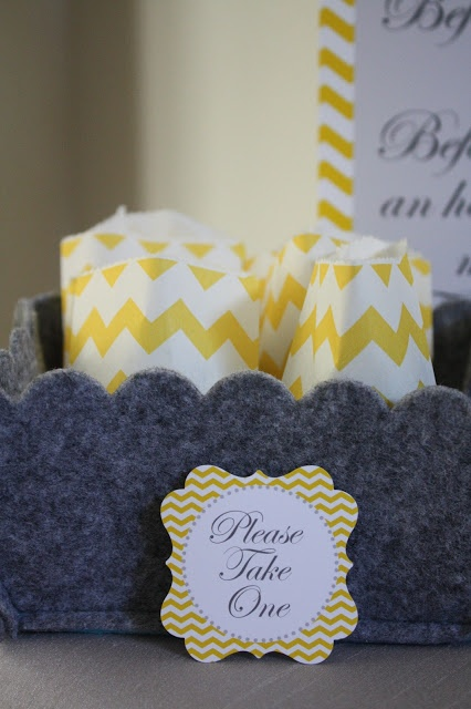 Mini chevron bags filled with gumballs for guests
