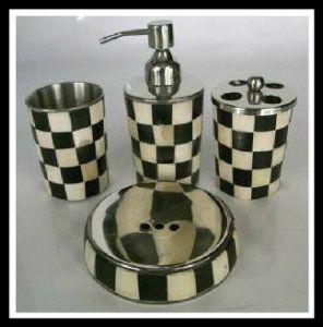 Black And White Bone Bathroom Four Pieces Set / Home Accessories Decoration  / Soft Decorative