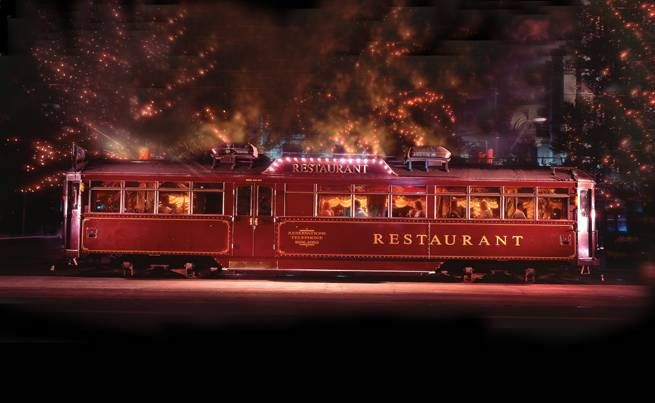 Colonial Tram Car Restaurant, a stylish way to see Melbourne by night whilst dining on amazing food.