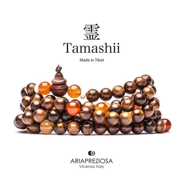 Tamashii - Mala Tibetana in Legno Hua Qi Nanmu profumato e pietre naturali Agata Bianca e Corniola