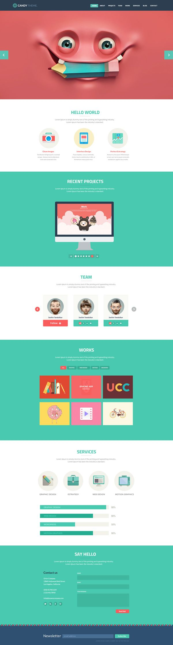 Site Templates - Candy - Flat Onepage Responsive HTML5 Template   ThemeForest #webdesign