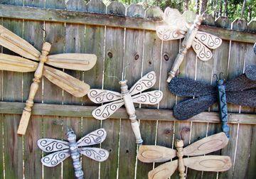 20 DIY Outdoor Decorating Ideas: Table Leg Dragonflies