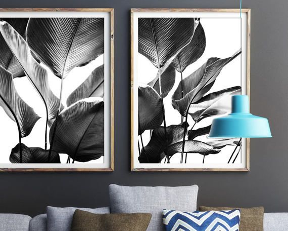 Black and White Prints, Banana Leaves Print, Set Of 2, Wall Art, Tropical, Print, Botanical Art, Posters, Prints, Leaf Print, Palm Leaf, 142