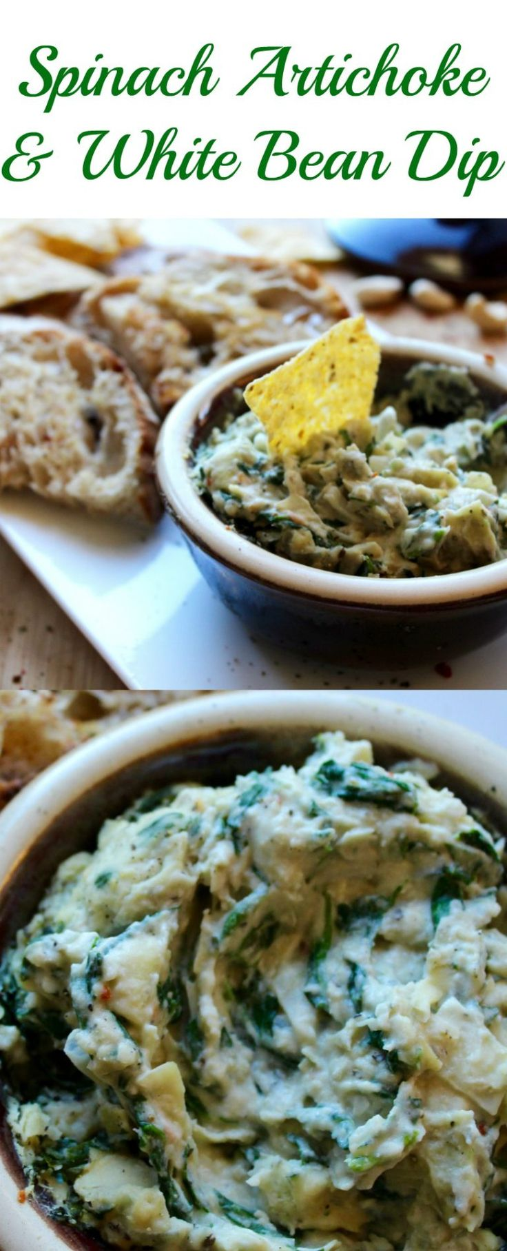 Hot Spinach, Artichoke and White Bean Dip dairy free, gluten free, and vegan!