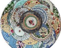 Antieke mozaïek tafelblad china aardewerk plaat Scherf keramische scherven DIY hergebruiken hernieuwbare hulpbron val buiten project Winter hoekje dineren