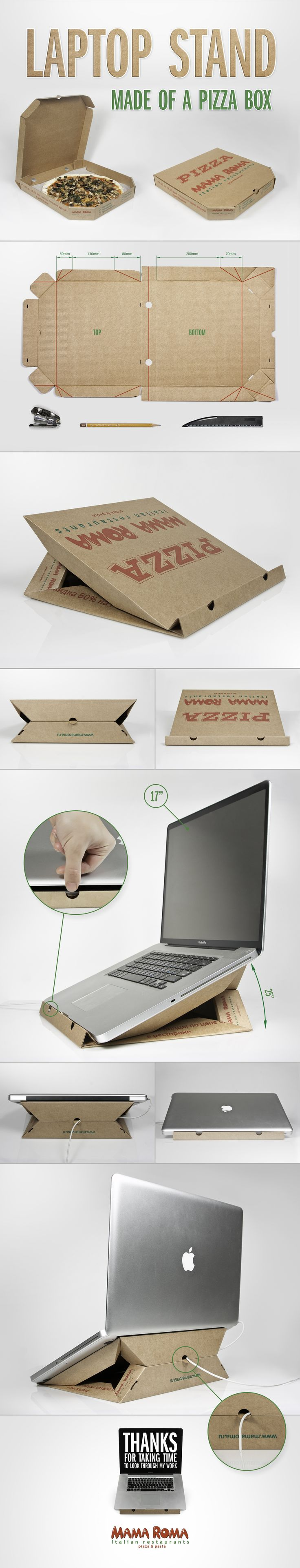 Laptop stand made of a pizza box on Behance