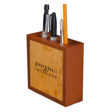 Classy Rustic Dante Orange Interior Designer Pencil/Pen Holder Business Branding - mediterranean - Desk Accessories - Metro - Corbin Henry #progifts