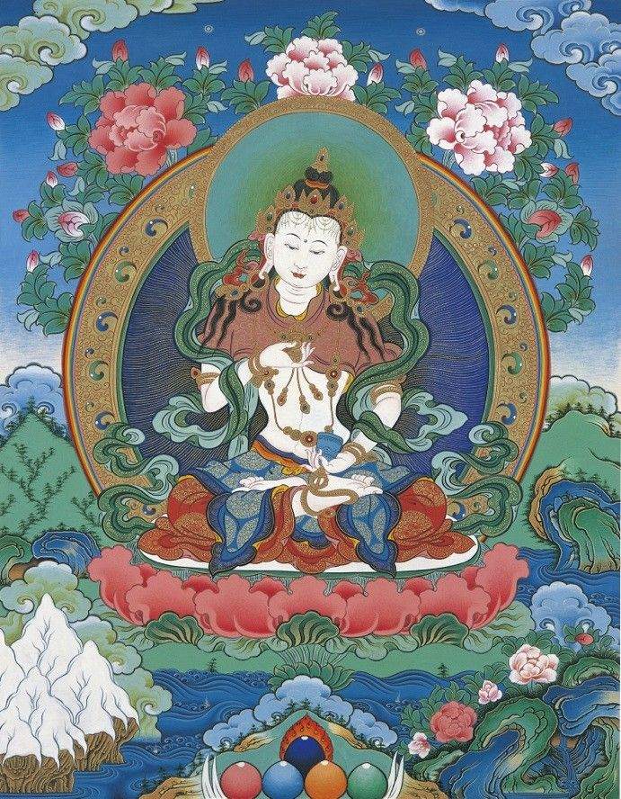 Vajrasattva, Tibetan Thangka painting , works made by Lama Sherab Gyatso. Accept special order, more information on question please contact: info@myadornart.com