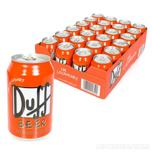 DOH!........Twenty four cans of Homer's favorite pastime will have you snoring in your La-Z-Boy before midnight. These aren't just cans that say Duff Beer on them with soda inside either. They have actual alcohol in them. German lager to be exact. Mmmmm...