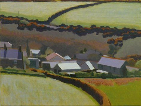 Tom Henderson Smith, Bright rooftops in the valley, Bosavern 46 (H) × 61 (W) cm on ArtStack #tom-henderson-smith #art