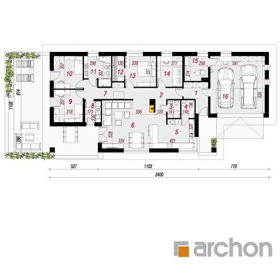 projekt Dom w modrzewnicy 2 (G2A) rzut parteru