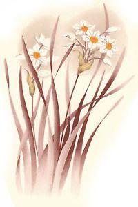 Ceramic Decals White Narcissus Floral Flower Bunch | eBay