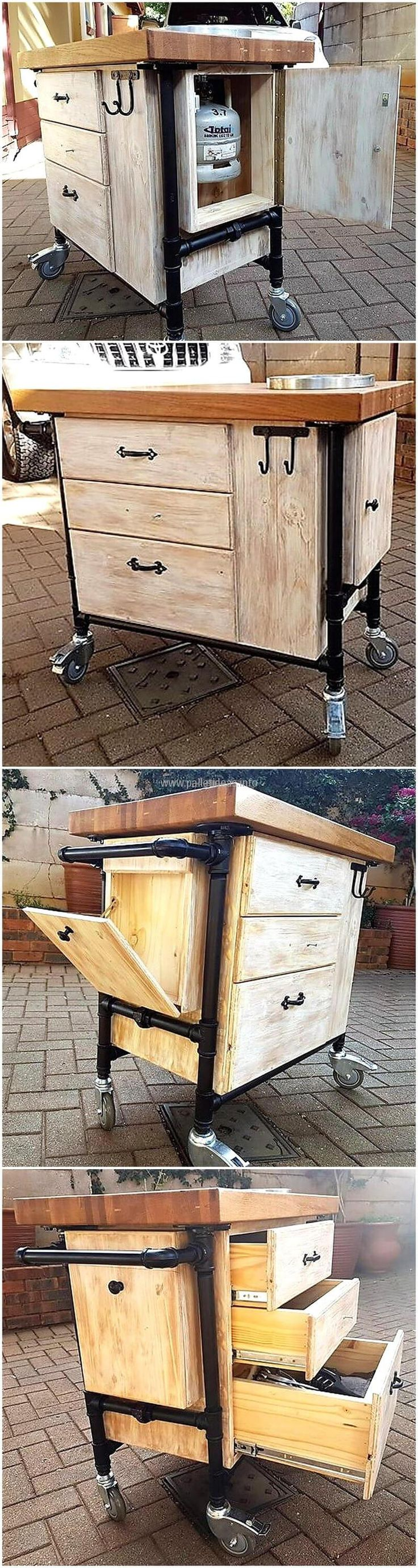 we would like to show an idea which can be copied for patio as well as for the kitchen. The cylinder can be fitted into the trolley and can be moved anywhere in the home. There are drawers in the trolley to store the items and hooks to hang the kitchen utensils.