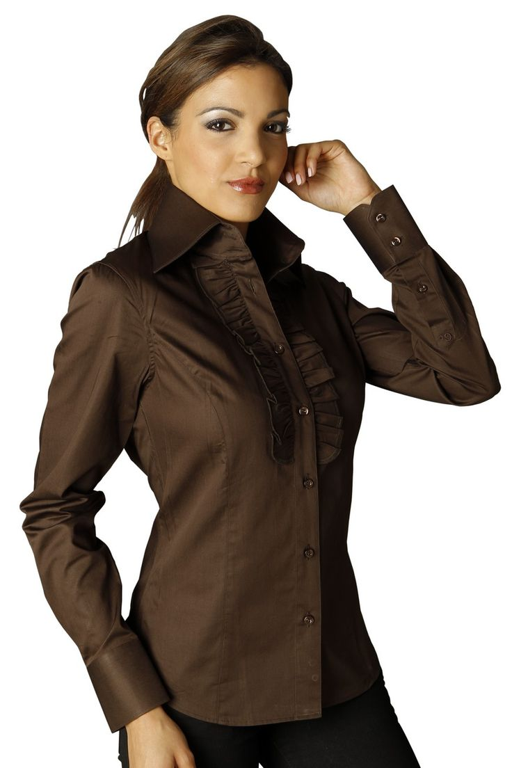 chemise femme froufrou marron beautiful blouses. Black Bedroom Furniture Sets. Home Design Ideas