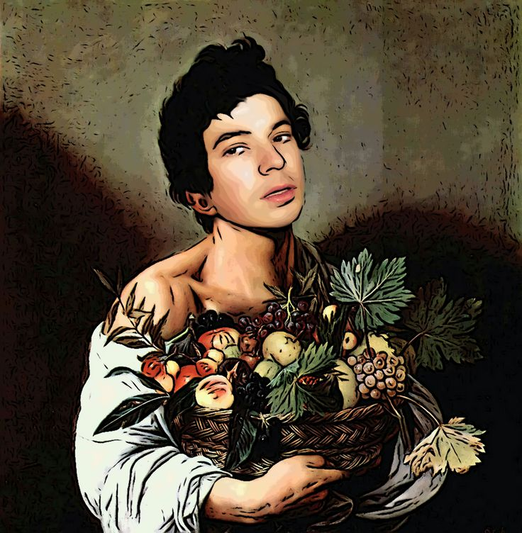 """Caravaggio's """"Boy With Fruit Basket"""", starring Andrei Telfer! Version comic."""