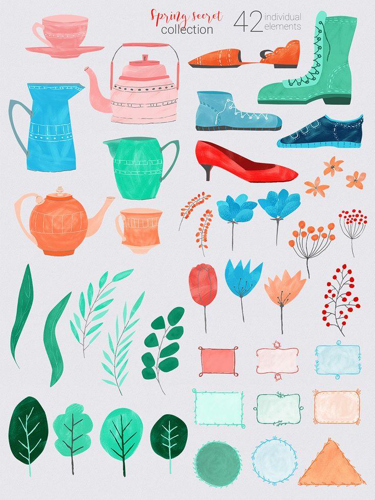 #Spring Secret Collection: 42 elements in PNG | #masterbundles