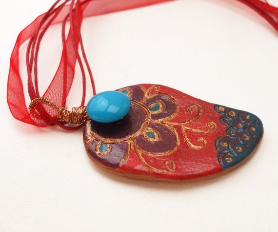 Sunset of Asia, air dry clay  pendant, copper shades colours mehndi