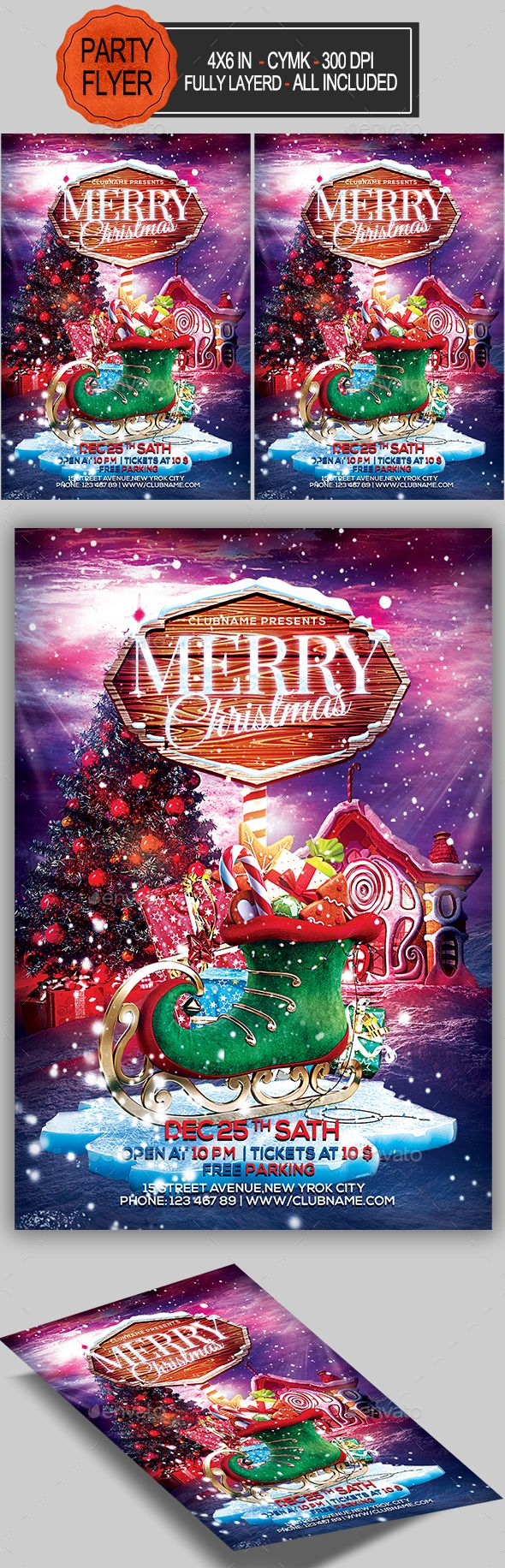 Merry Christmas Flyer — Photoshop PSD #christmas night • Available here ➝ https://graphicriver.net/item/merry-christmas-flyer/20827059?ref=pxcr