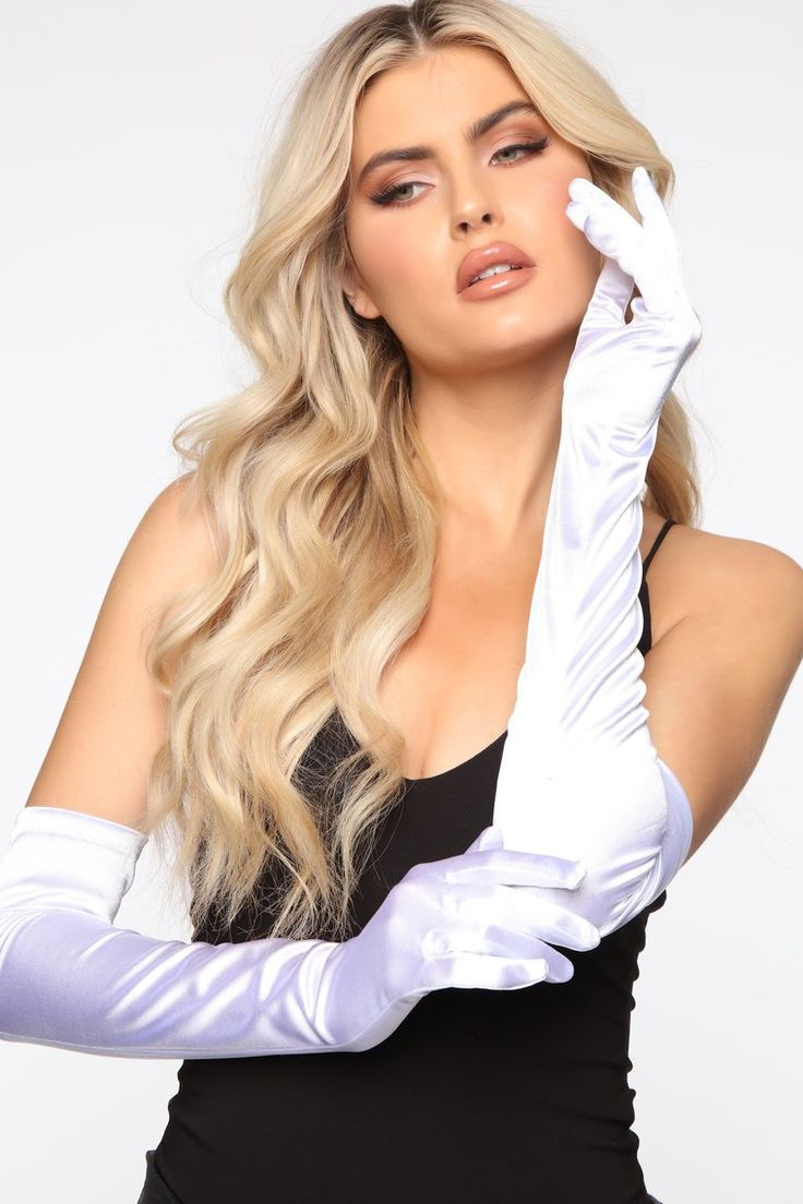 Classic Lady Long Satin Gloves White Lady, Fashion