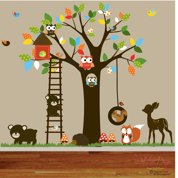 Vinyl Wall decal stickers swing tree set with,owls,birds,deer,bear,fox.woodland animals nursery wall decal. $225.00, via Etsy.