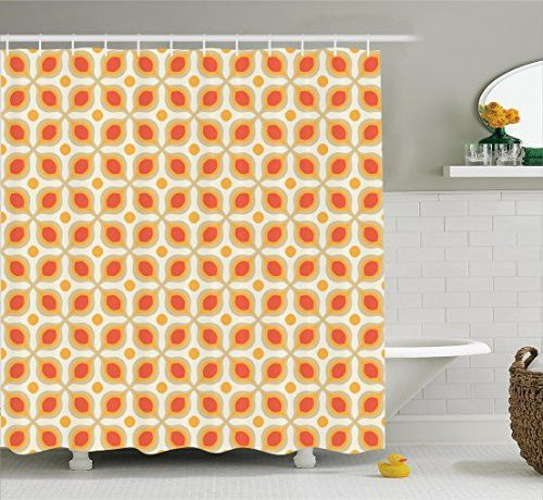 Geometric Decor Shower Curtain Set By Ambesonne, Linked Bold Geometric Shapes 70S Vintage Style Minimalist Pattern Boho Home Decor, Bathroom Accessories, 69W X 70L Inches, Orange Cream