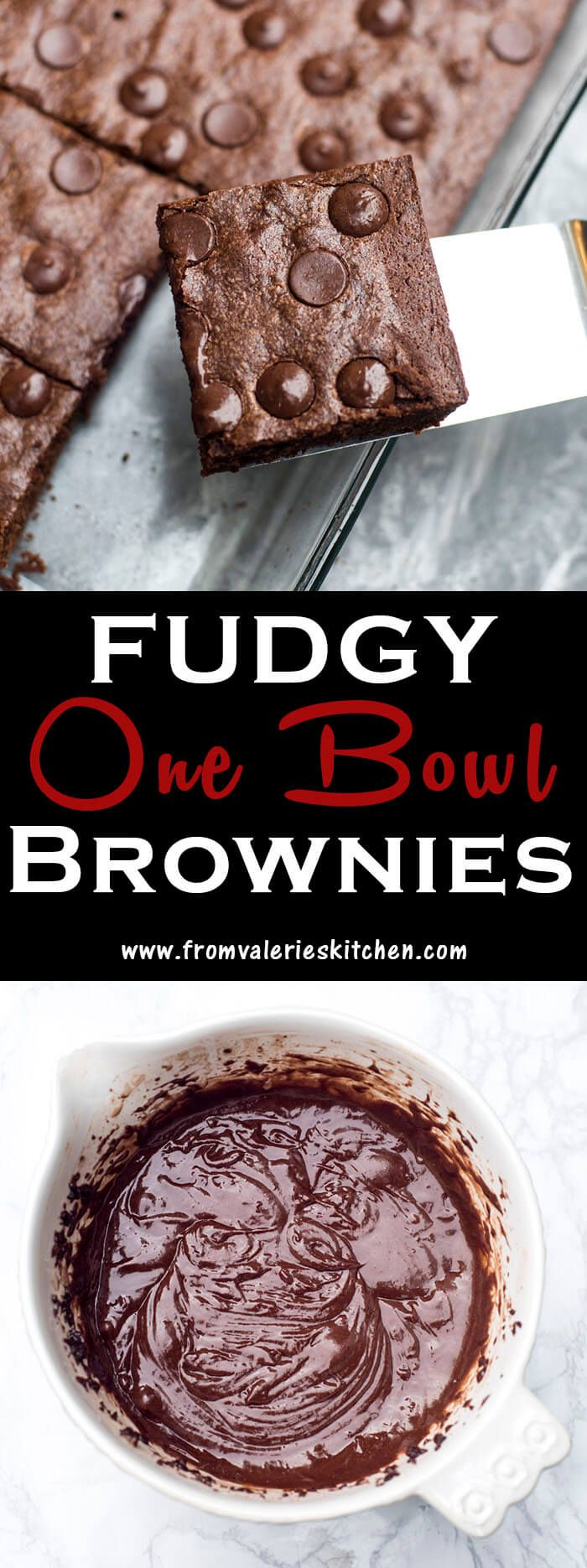 An easy mix and bake recipe with a cocoa powder base that results in a seriously fudgy brownie. Fudgy One Bowl Brownies are a rich, decadent treat!