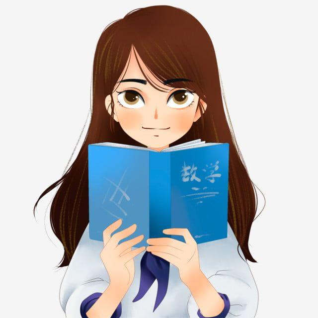 كرتون فتاة جميلة تقرأ صورة مجانية كتاب الرياضيات كتاب مدرسي الكرتون مرسومة باليد Png وملف Psd للتحميل مجانا Girl Reading Free Pictures Reading Cartoon