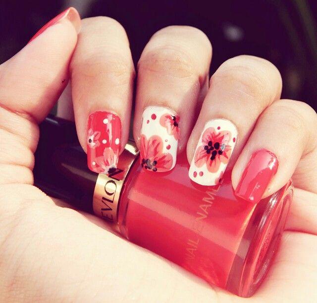 #Summer love #nail art #floral #bright #orange