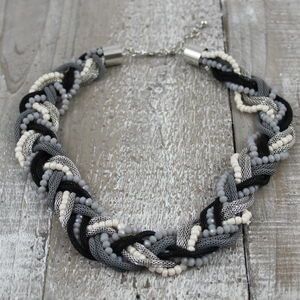 Black Twist Bead Necklace