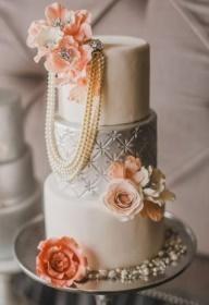 Peach and Silver Wedding Cake