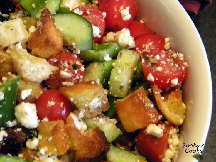 Greek Panzanella - Barefoot Contessa. This is delicious. I made it as a way to use up bread that was getting old. Perfect!