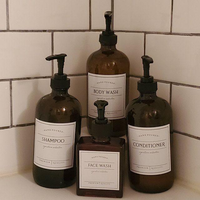 16 Oz Bouteille De Pulverisation En Verre Ambre Bouteille Rechargeable Avec Etiquettes Impermeables Bouteilles D Apothicaire Bouteille De Pulverisation Plus Shampoo Bottles Soap Labels Bottle