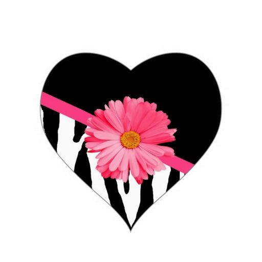 A trendy black and white zebra pattern heart shaped stickers with a cute pink gerbera daisy