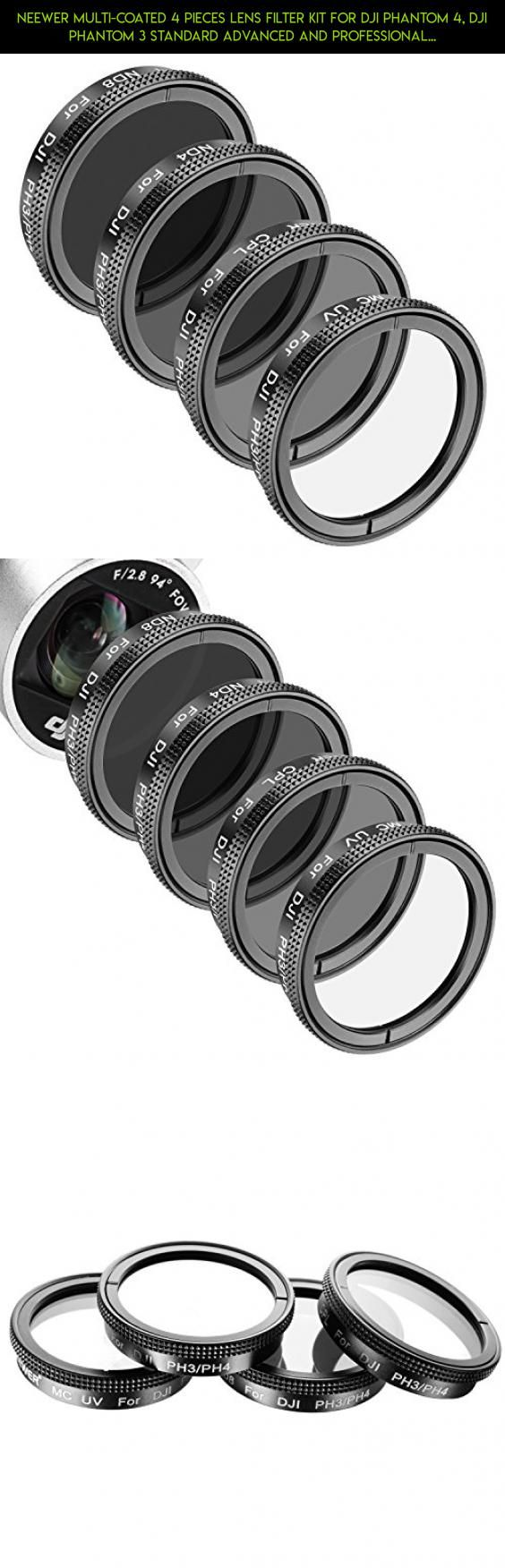 Neewer Multi-coated 4 Pieces Lens Filter Kit for DJI Phantom 4, DJI Phantom 3 Standard Advanced and Professional, Made of High Definition Glass and Aluminum Frame, Includes: UV, Polarizer CPL, ND4,ND8 #tech #standard #3 #camera #fpv #lens #kit #drone #racing #phantom #shopping #gadgets #plans #dji #technology #parts #products #djiphantom3professional