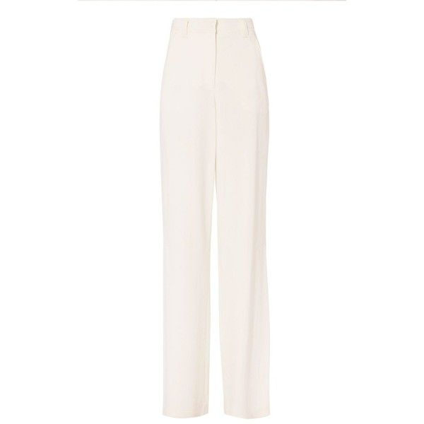 A.L.C. Women's Miles Side Slit Pants ($329) ❤ liked on Polyvore featuring pants, white pants, white trousers, zip pants, rayon pants and zip pocket pants