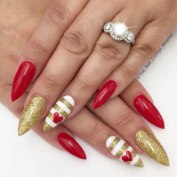 Stiletto hearts Valentine's Day nail art design