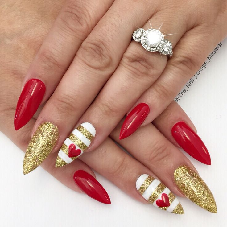 Stiletto hearts Valentine's Day nail art design