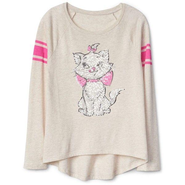 GapKids Disney embellished hi-lo raglan tee ($30) ❤ liked on Polyvore featuring tops, t-shirts, embellished t shirts, pink t shirt, decorating t shirts, disney tops and embellished tee